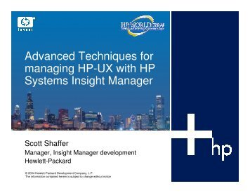 Advanced Techniques for Managing HP-UX using HP ... - OpenMPE