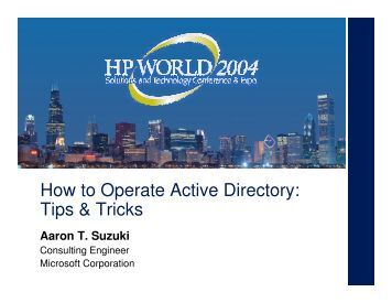 How to Operate Active Directory: Tips & Tricks - OpenMPE