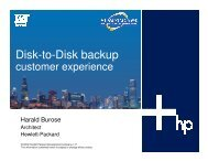 Intelligent Disk-to-Disk Backup: Customer Experiences - OpenMPE