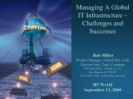 Managing A Global IT Infrastructure – Challenges and ... - OpenMPE