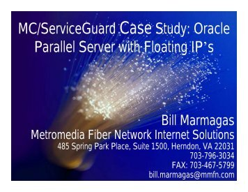 MC/ServiceGuard Case Study: Oracle Parallel Server ... - OpenMPE