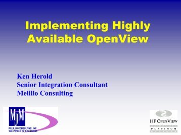 Implementing Highly Available OpenView Solutions - OpenMPE