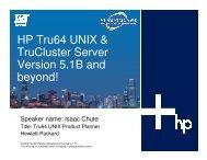 HP Tru64 UNIX & TruCluster Server Version 5.1B and ... - OpenMPE