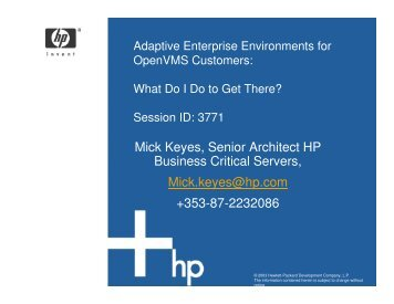 Adaptive Enterprise Environments for OpenVMS ... - OpenMPE