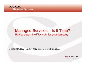 Managed Services – Is It Time? - OpenMPE