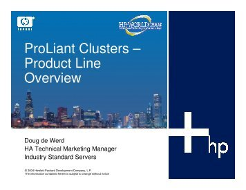 ProLiant Clusters – Product Line Overview - OpenMPE