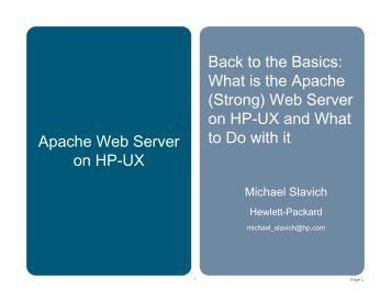 What is the Apache (Strong) Web Server on HP-UX and ... - OpenMPE