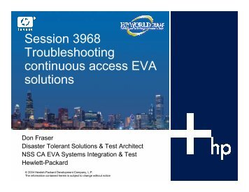 How to Troubleshoot Continuous Access EVA Problems - OpenMPE