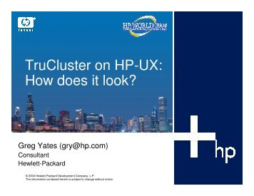 TruCluster on HP-UX: How does it look? - OpenMPE