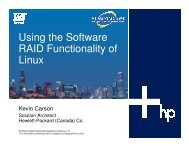 Using the Software RAID Functionality of Linux - OpenMPE