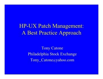 HP-UX Patch Management: A Best Practice Approach - OpenMPE
