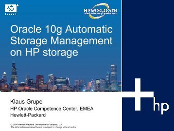 Oracle 10g Automatic Storage Management on HP ... - OpenMPE