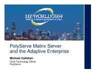 PolyServe Matrix Server and HP Blade Clusters - OpenMPE