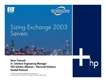 Sizing Exchange 2003 Servers - OpenMPE