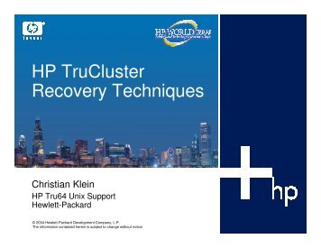 HP TruCluster Recovery Techniques - OpenMPE