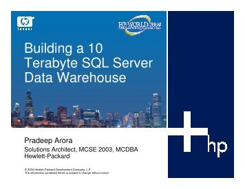 Building a 10 Terabyte SQL Server Data Warehouse - OpenMPE