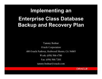 Implementing an Enterprise Class Database Backup ... - OpenMPE