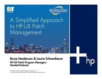 A Simplified Approach to HP-UX Patch M anagement - OpenMPE