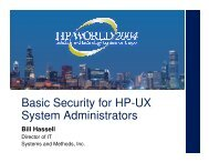 Basic Security for HP-UX System Administrators - OpenMPE