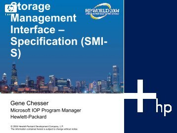 Storage Management Interface – Specification (SMI- S) - OpenMPE