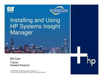 Installing and Using HP Systems Insight Manager - OpenMPE
