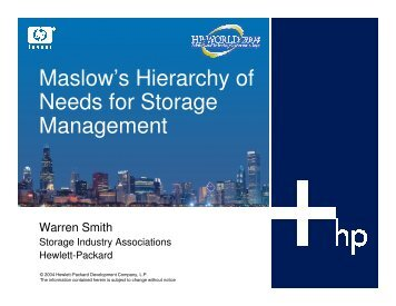 Maslow's Hierarchy of Needs for Storage Management - OpenMPE
