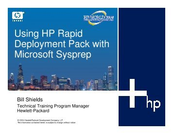 Using HP Rapid Deployment Pack with Microsoft Sysprep - OpenMPE