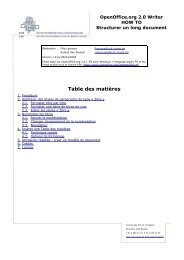 Les longs documents - OpenOffice.org
