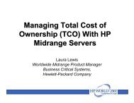 Managing Total Cost of Ownership with HP Servers - OpenMPE