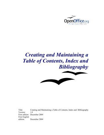 how to add a table of contents in open office