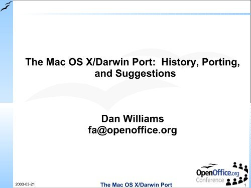 The Mac OS X/Darwin Port: History, Porting, and