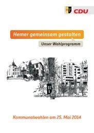 CDU Hemer Wahlprogramm 2014