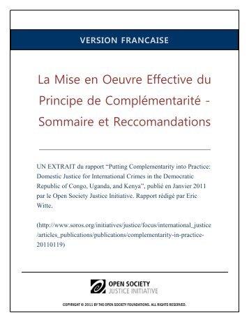 La Mise en Oeuvre Effective du Principe de Complémentarité ...