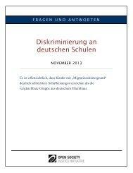 Diskriminierung an deutschen Schulen - Open Society Foundations