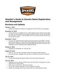Reseller's Guide To Domain Name Registration And ... - OpenSRS