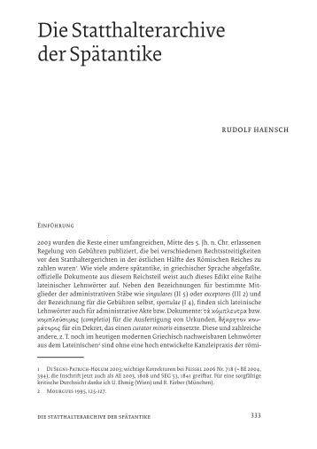 Die Statthalterarchive der Spätantike - OpenstarTs