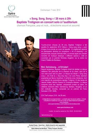 Récital Trotignon - Opéra de Bordeaux