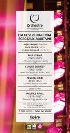 programme du concert - Opéra de Bordeaux