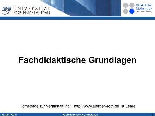 Fachdidaktische Grundlagen - Didaktik der Mathematik ...