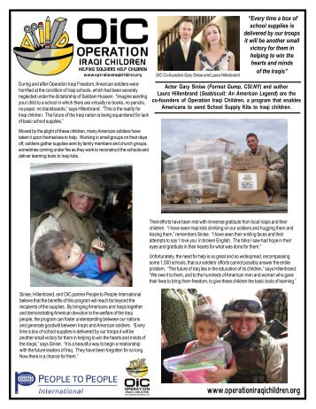 OIC Info Sheet July 06.p65 - Operation Iraqi Children