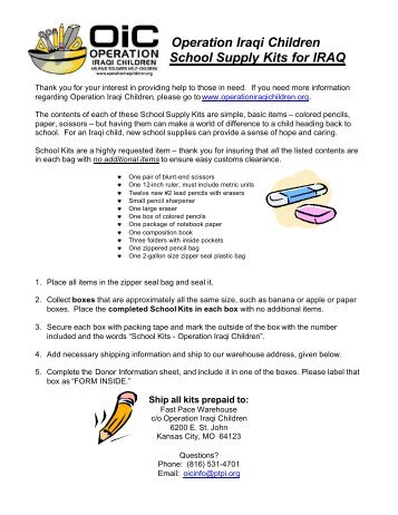 School Kit Supply and Donor Sheet - Operation Iraqi Children