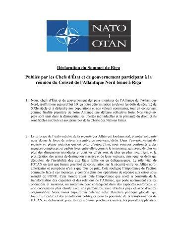 Déclaration du Sommet de Riga Publiée par les Chefs d'État et de ...