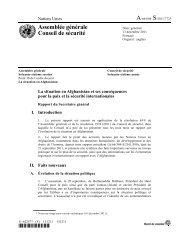 Rapport du Secrétaire général sur la situation en Afghanistan et ses ...