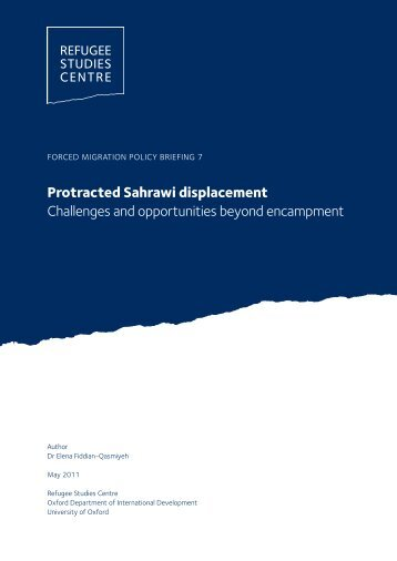 Protracted Sahrawi displacement Challenges and opportunities ...