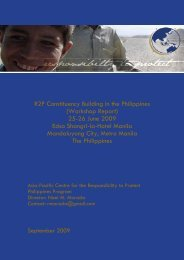 Workshop Report : R2P Constituency Building in the Philippines