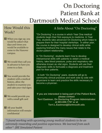 On Doctoring Patient Bank at Dartmouth Medical School