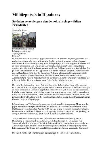 Militärputsch in Honduras Soldaten verschleppen den demokratisch