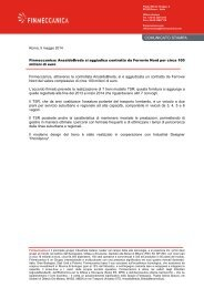 Finmeccanica: AnsaldoBreda si aggiudica contratto da Ferrovie Nord per circa 100 milioni di euro
