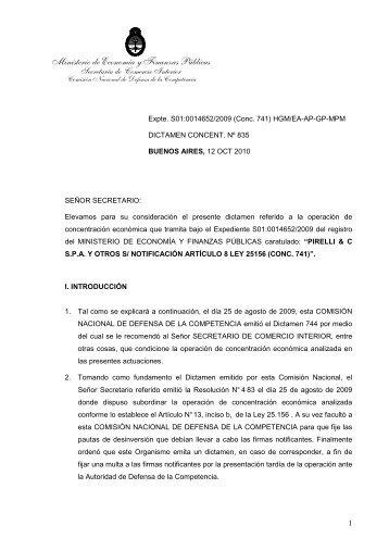 Dictamen Final conc. 741 Principal - Comision Nacional de Defensa ...