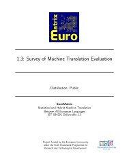 Deliverable 1.3 - The EuroMatrix Project